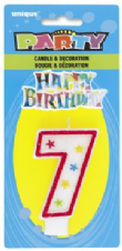 Number Seven 7 Birthday Cake Candle With Topper